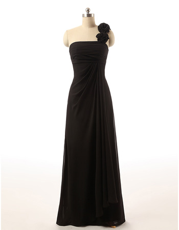 Designer One Shoulder Long Chiffon Black Bridesmaid Dress