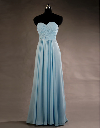 Designer Sweetheart Floor Length Chiffon Lace-Up Bridesmaid Dress