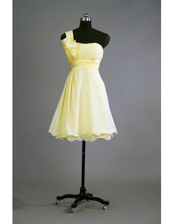 Simple One Shoulder Short Chiffon Bridesmaid/ Homecoming Dress