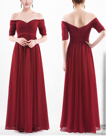 Sexy Off-the-shoulder Long Chiffon Bridesmaid Dress with Half Sleeves