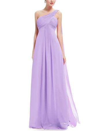 2018 Simple One Shoulder Full Length Chiffon Bridesmaid Dress Under 100