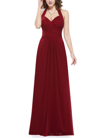 Cheap Simple Halter Sweetheart Long Chiffon Bridesmaid Dress