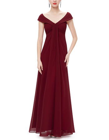 2018 Modest V-Neck Full Length Chiffon Bridesmaid Dress with Cap Sleeves