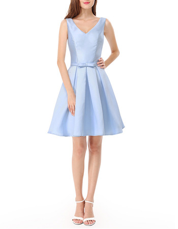 2018 Simple Short Satin Bridal Bridesmaid/ Wedding Party Dress
