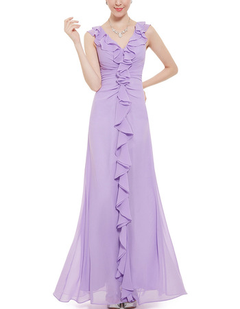 Amazing V-Neck Sleeveless Long Chiffon Ruffle Bridesmaid Dress
