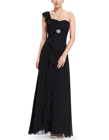 2018 Stylish One Shoulder Black Long Chiffon Summer Bridesmaid Dress