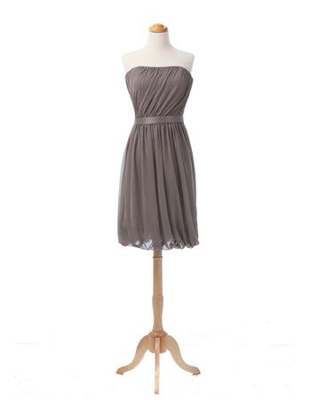 2018 Simple Column Strapless Short Chiffon Summer Bridesmaid/ Wedding Party Dress