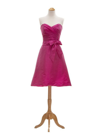 Cheap Simple A-Line Sweetheart Short Taffeta Bridesmaid Dress
