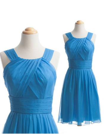 Classy A-Line Sleeveless Short Chiffon Bridesmaid Dress with Straps