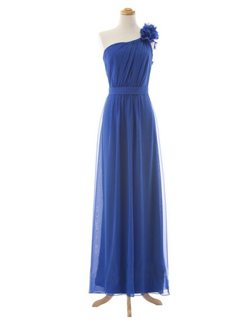 2018 Simple One Shoulder Floor Length Chiffon Bridesmaid Wedding Dress