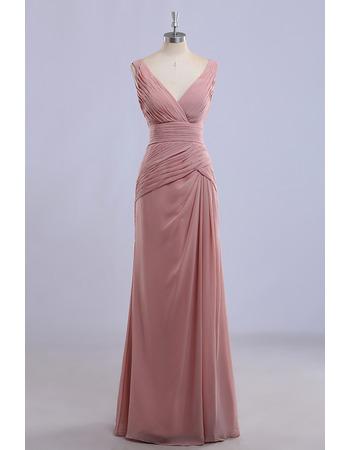 Affordable V-Neck Sleeveless Long Chiffon Bridesmaid Dress