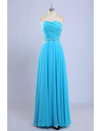 Simple Sweetheart Full Length Chiffon Pleated Bridesmaid Dress