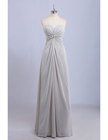 2018 Stylish Sweetheart Full Length Chiffon Beading Bridesmaid Dress Under $100