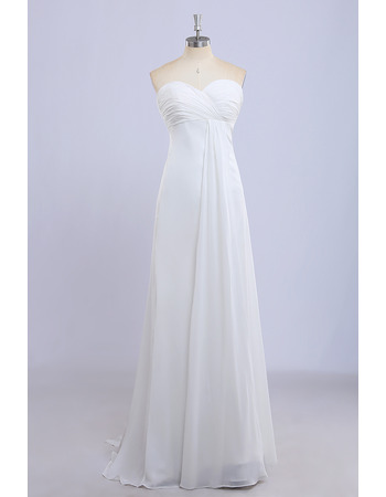 Affordable Empire Waist Sweetheart Long Chiffon Bridesmaid Dress