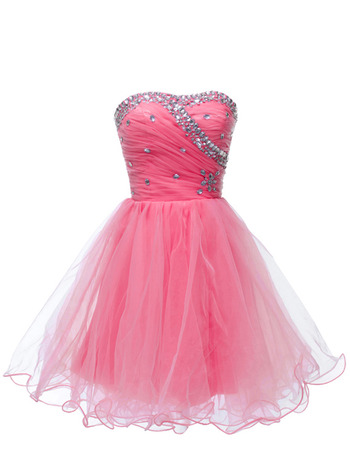Affordable Sweetheart Short Satin Tulle Rhinestone Cocktail Party Dress