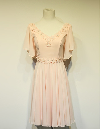 Women's Beautiful V-Neck Short Chiffon Cocktail Party Dress with Short Sleeves