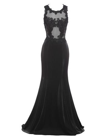 2018 Sexy Sheath Sleeveless Sweep Train Satin Black Prom Evening Dress