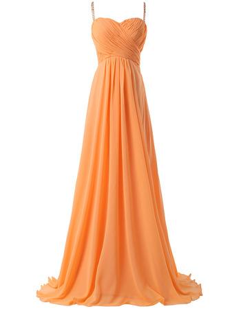 2018 Simple New Spaghetti Straps Floor Length Chiffon Formal Evening Dress
