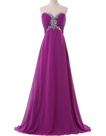2018 Empire Waist Sweetheart Long Chiffon Formal Evening Dress