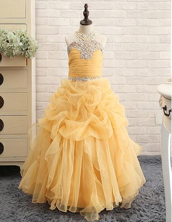 2018 Pretty Floor Length Organza Pick-Up Skirt Little Girls Party/ Pageant Dress