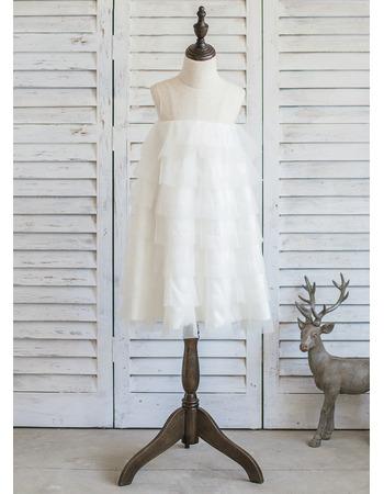 2018 Style Empire Short Organza Layered Skirt Flower Girl Dress