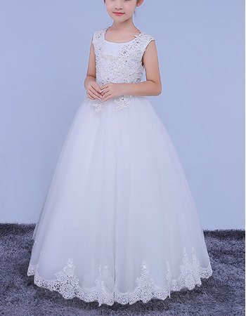 2018 New Style Ball Gown Floor Length Organza Wedding Flower Girl Dress
