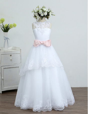 2018 Lovely A-Line Long Organza White Flower Girl/ First Communion Dress