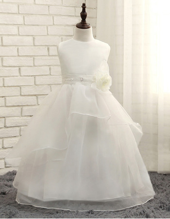 Adorable Floor Length Organza White Flower Girl/ First Communion Dress
