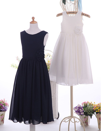 Custom Handmade Sleeveless Tea Length Satin Chiffon Flower Girl Dress