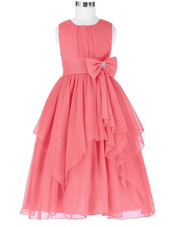 Handmade Children Girls Ball Gown Tea Length Chiffon Little Flower Girl Dress