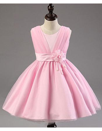 Pretty Ball Gown Sleeveless Knee Length Satin Flower Girl Dress