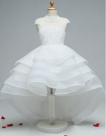 2018 High-Low Lace Organza Layered Skirt Little Girls Party Dress