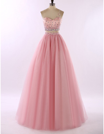 2018 New Style One Shoulder Floor Length Two-Piece Formal Prom Dress