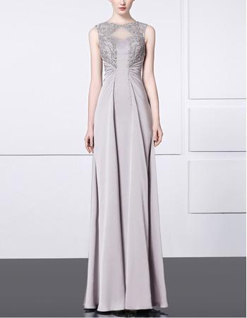 2018 Elegant Sheath Sleeveless Floor Length Satin Formal Evening Dress
