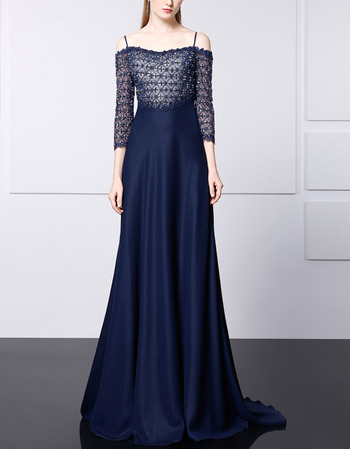 2018 Spaghetti Straps Satin Formal Evening Dress with 3/4 Long Sleeves