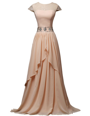 2018 Stylish Long Chiffon Mother Formal Dress with Short Sleeves