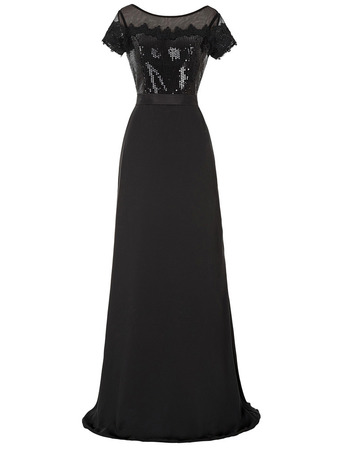 Classy Full Length Chiffon Sequin Black Mother Formal Dress with Short Sleeves