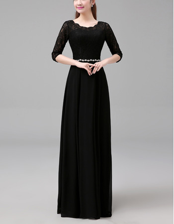 2018 Fashionable Long Chiffon Lace Black Formal Mother Dress with 3/4 Long Sleeves