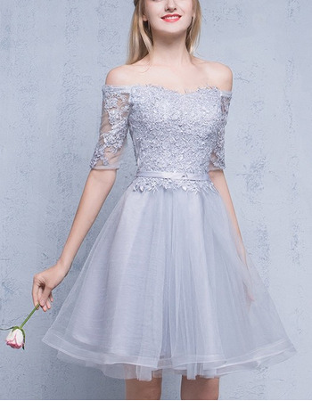 Designer Off-the-shoulder Short Formal Homecoming Dress with Half Sleeves