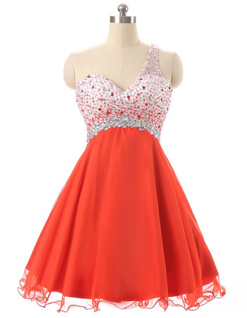 Affordable Empire One Shoulder Chiffon Rhinestone Homecoming Dress
