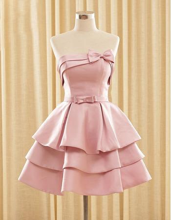 2018 Hipster Strapless Short Satin Layered Skirt Homecoming Dress