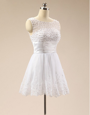Simple Sleeveless Short White Satin Organza Beading Formal Homecoming Dress