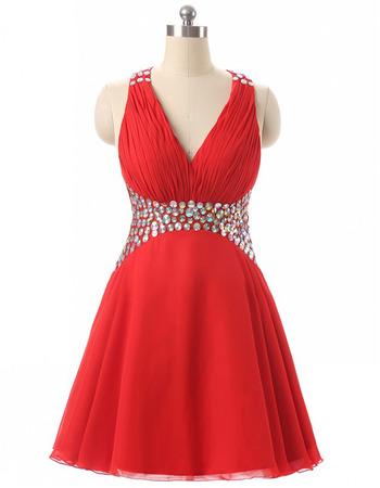 Sexy Empire waist V-Neck Short Chiffon Rhinestone Homecoming Dress