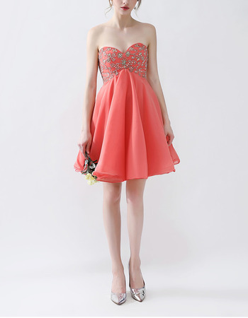 Jovani Empire Waist Sweetheart Mini/ Short Chiffon Homecoming/ Party Dress