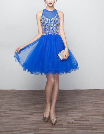 2018 Hot Sleeveless Short Organza Open Back Homecoming/ Party Dress