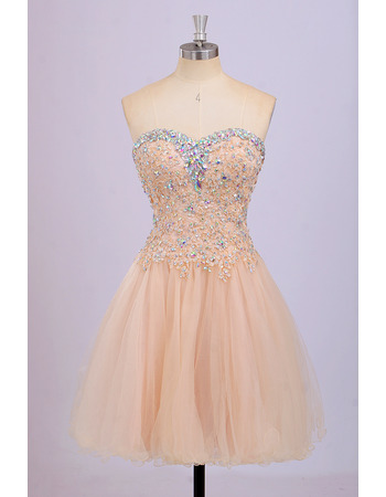 Classy Sweetheart Short Satin Tulle Rhinestone Homecoming Dress