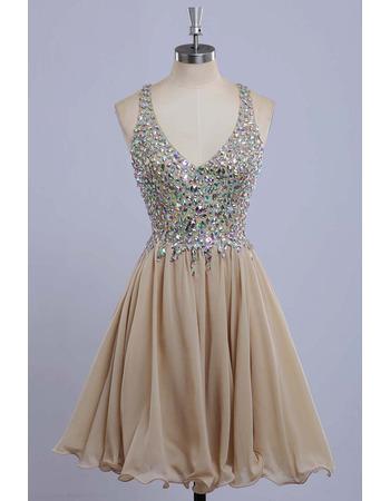 Designer V-Neck Mini/ Short Chiffon Rhinestone Formal Homecoming Dress