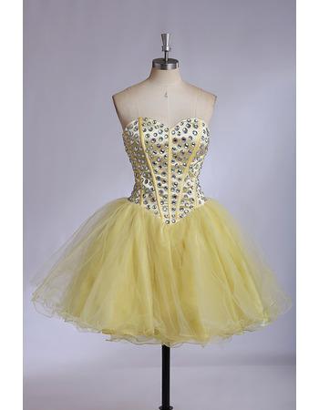Cheap Sweetheart Mini/ Short Satin Organza Rhinestone Formal Homecoming Dress