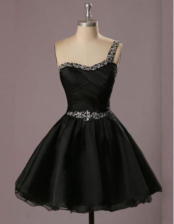 2018 Inexpensive A-Line One Shoulder Short Black Homecoming Dress