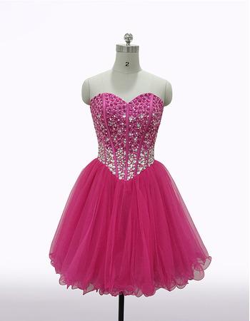 Custom Plus Size Sheath Sweetheart Short Organza Rhinestone Homecoming Dress